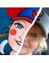 Ritratto illustrato personalizzato disegnato a mano dall'artista Vania Bellosi
