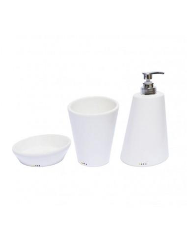 Set complementi bagno inclinati in ceramica porta sapone porta spazzolino dispenser