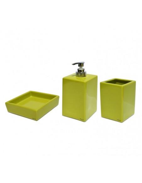 Set complementi bagno quadrati in ceramica porta sapone porta spazzolini dispenser sapone liquido