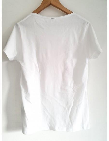 T-Shirt d'arte 'Fenicotteri innamorati' dell'artista italiana Vania Bellosi