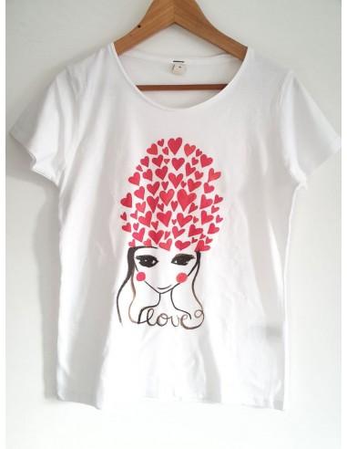 t-shirt d'arte Love disegno dall'artista italiana Vania Bellosi