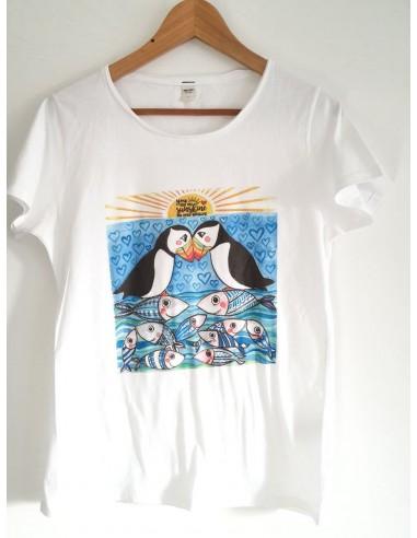 T-Shirt d'arte 'Puffin' disegno dell'artista italiana Vania Bellosi