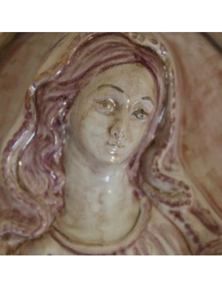 Immagine sacra bassorilievo in ceramica Madonna con bambino