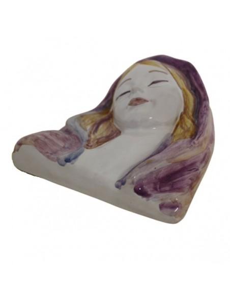 Immagine sacra su bassorilievo in ceramica di Faenza Madonna