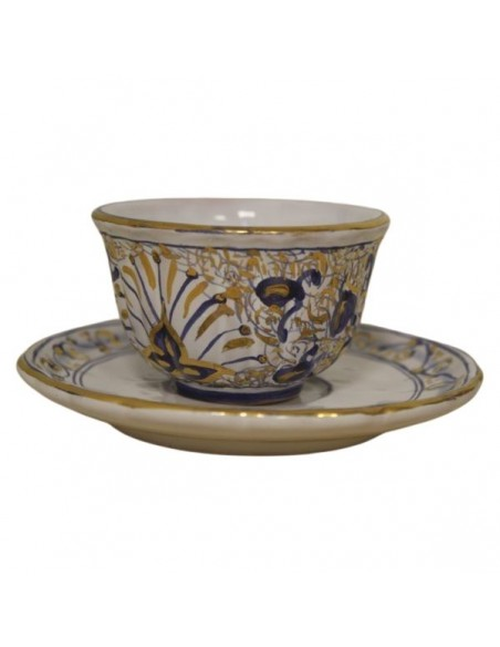 Servizio da caffe in ceramica di Faenza decorazione melograno