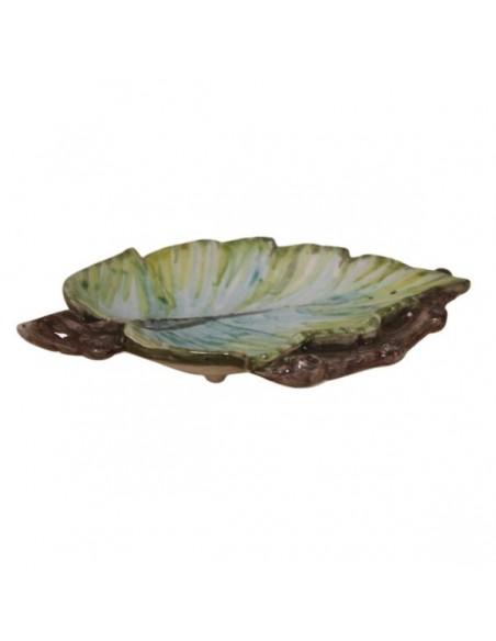 Portaoggetti svuotatasche a foglia in ceramica di Faenza
