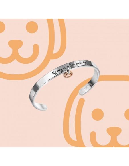 Bracciale rigido a fascia in acciaio inciso per dog lovers