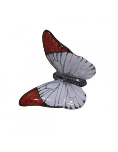 Farfalla in ceramica bianca e rossa
