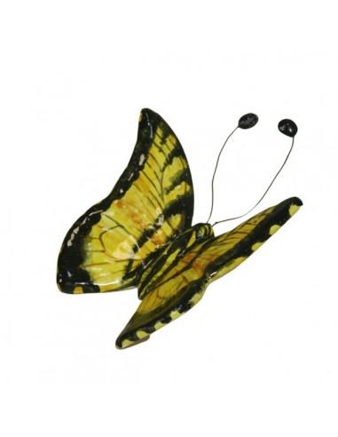 Farfalla in ceramica gialla e nera